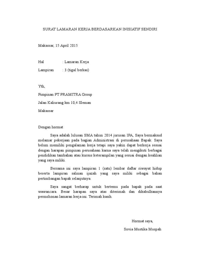 Contoh Surat Lamaran Kerja Bahasa Inggris Atas Inisiatif Sendiri Cute766