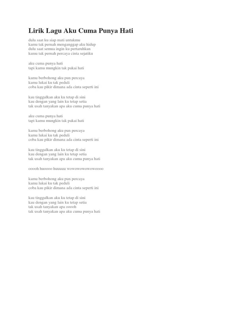 Lirik Lagu Aku Cuma Punya Hati : lirik, punya, Mytha, Punya, Berbagai, Penting