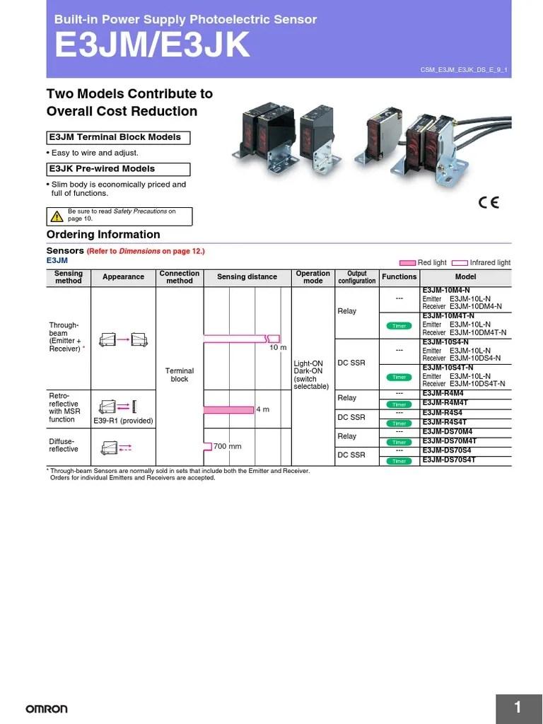 medium resolution of datasheet omron e3jm light emitting diode power supplye3jm photoelectric switch wiring diagram 17