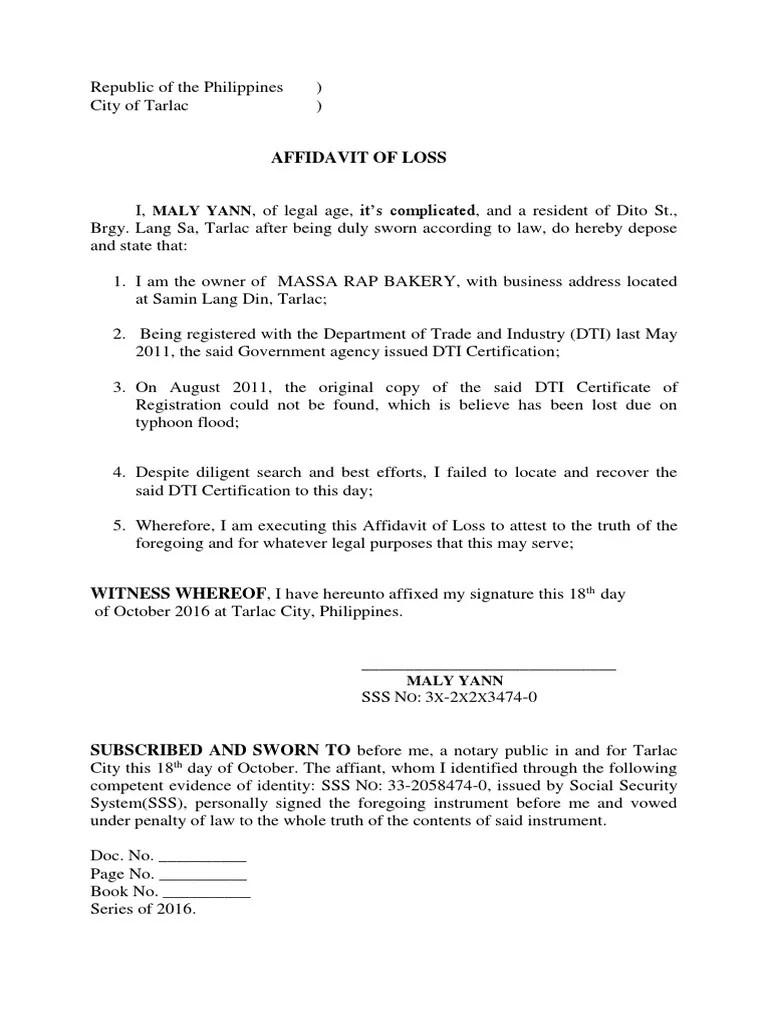 Philippines Receipt Loss Affidavit