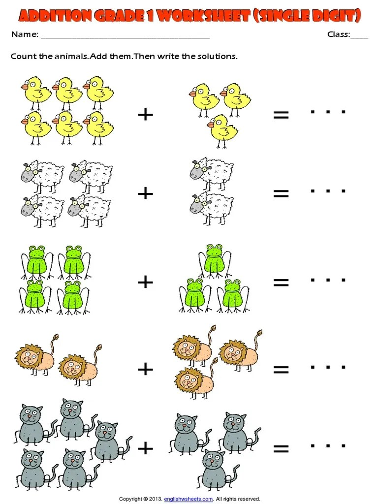 medium resolution of picture addition grade 1 single digit animals theme exercises worksheet.pdf