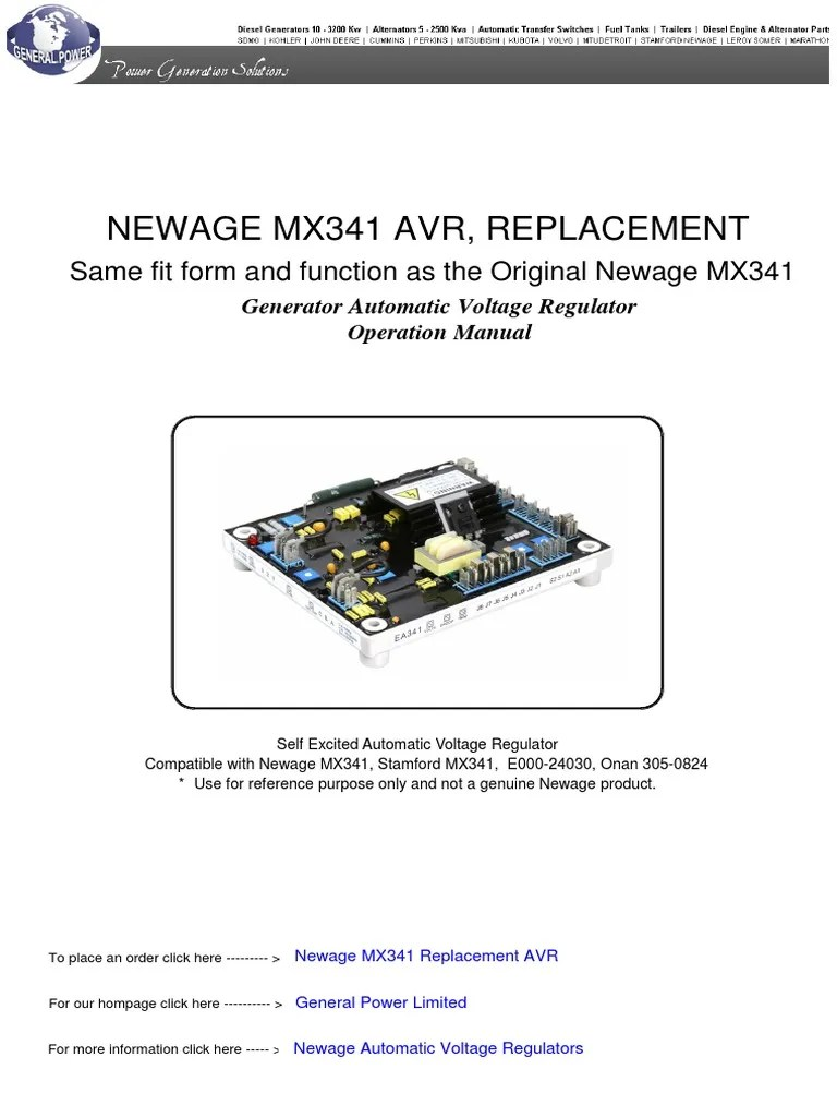 small resolution of newage mx341 automatic voltage regulator pdf electric generator new age generator wiring diagram for