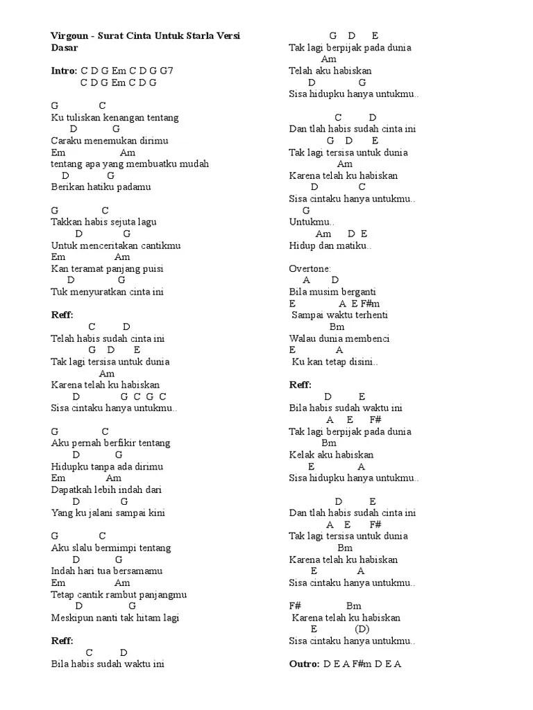 Chord Gitar Surat Cinta Untuk Starla : chord, gitar, surat, cinta, untuk, starla, Lirik, Chord, Surat, Cinta, Untuk, Starla