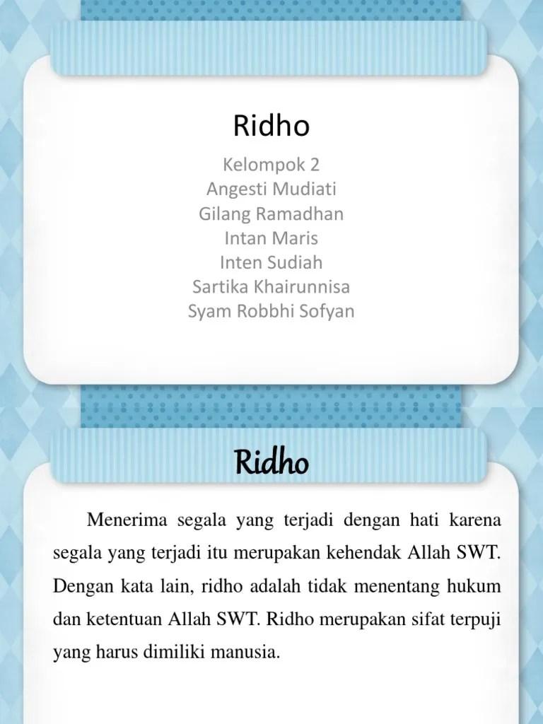 Ridho Adalah : ridho, adalah, Ridho