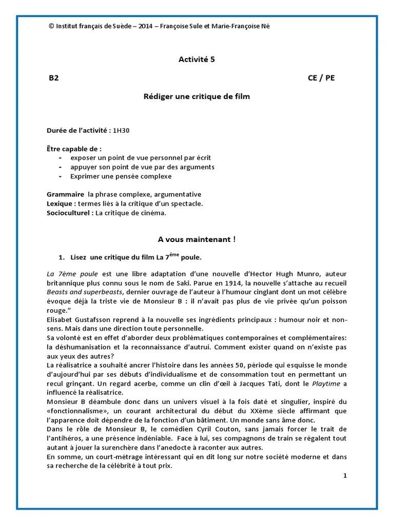 Rédiger Une Critique De Film : rédiger, critique, Comprendre-et-rédiger-une-critique-de-cinéma..pdf