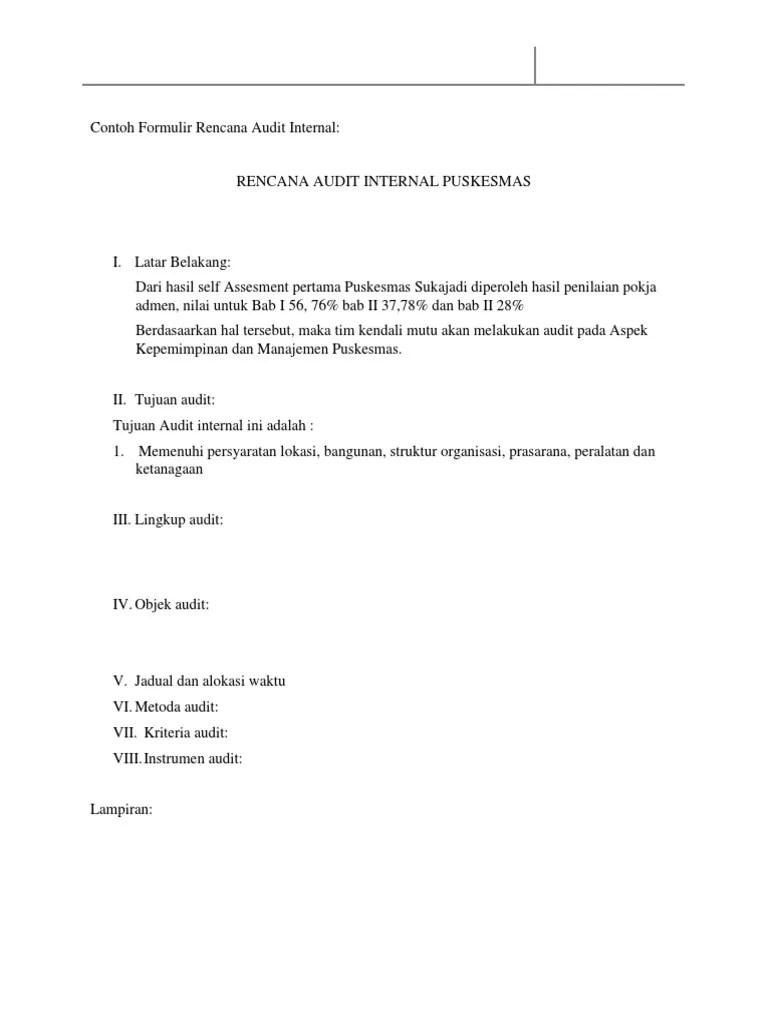 Contoh Formulir Rencana Audit Internal Docx