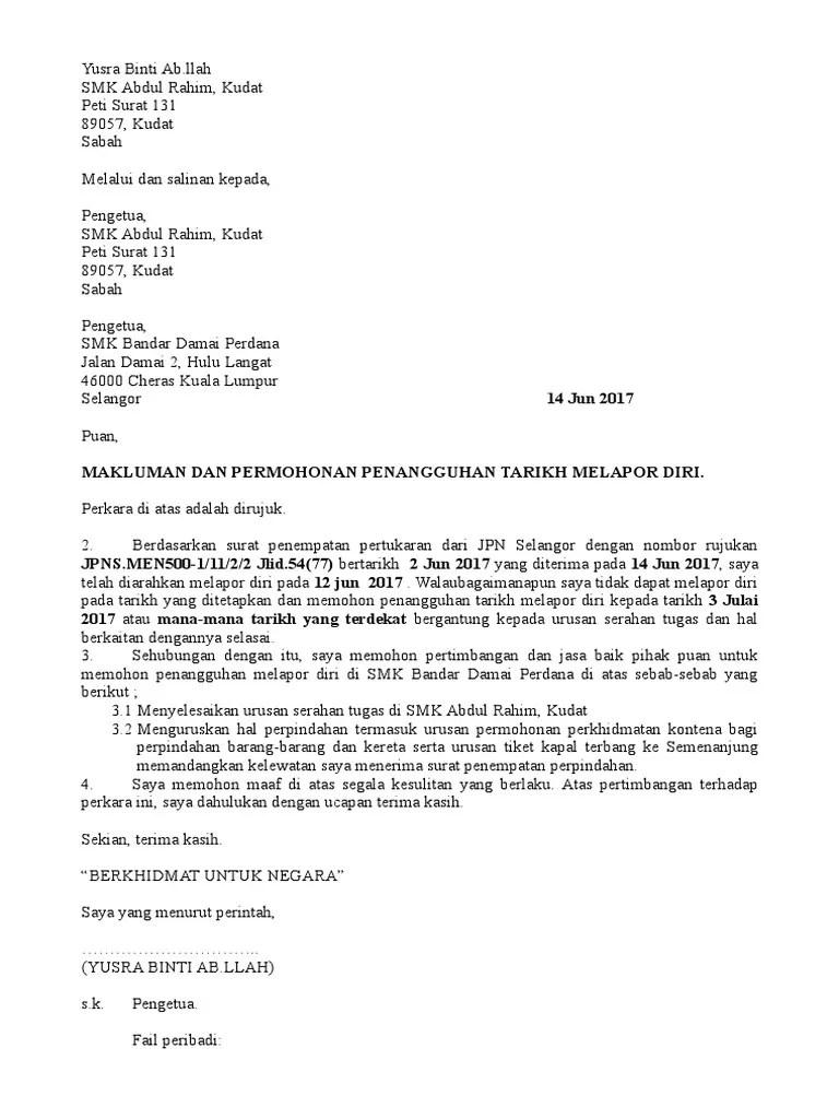 Surat Tangguh Tugas Pertukaran Cute766