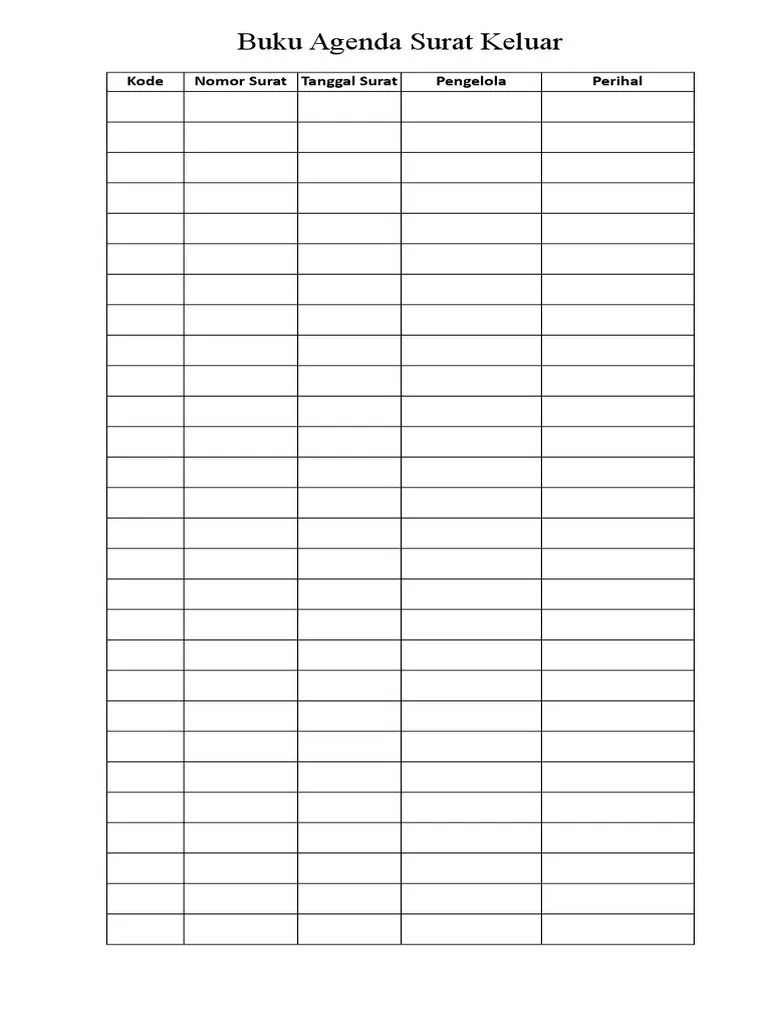Buku Agenda Surat : agenda, surat, Agenda, Surat, Keluar