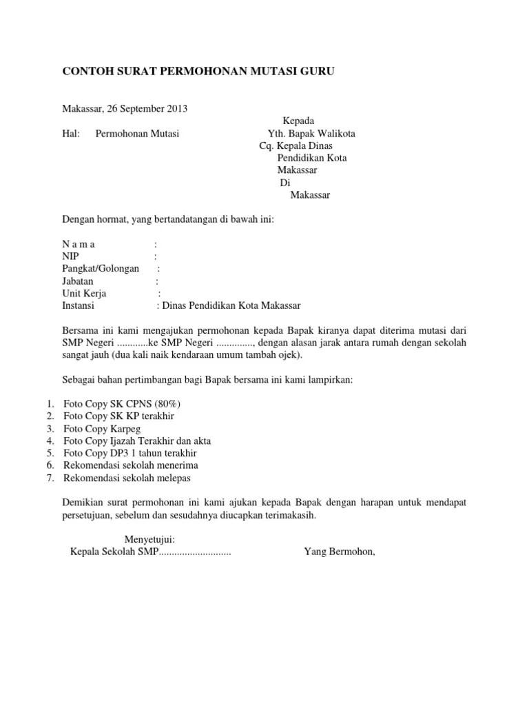 Surat Keterangan Mutasi Guru : surat, keterangan, mutasi, Contoh, Surat, Permohonan, Mutasi