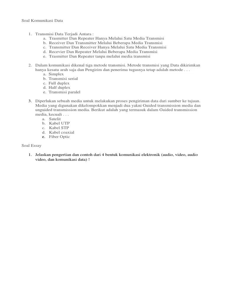 Soal Essay Komunikasi Data : essay, komunikasi, Komunikasi