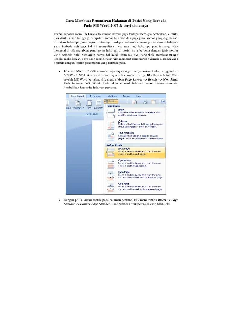 Cara Membuat Halaman Beda Posisi : membuat, halaman, posisi, Membuat, Penomoran, Halaman, Posisi, Berbeda, Versi, Diatasnya