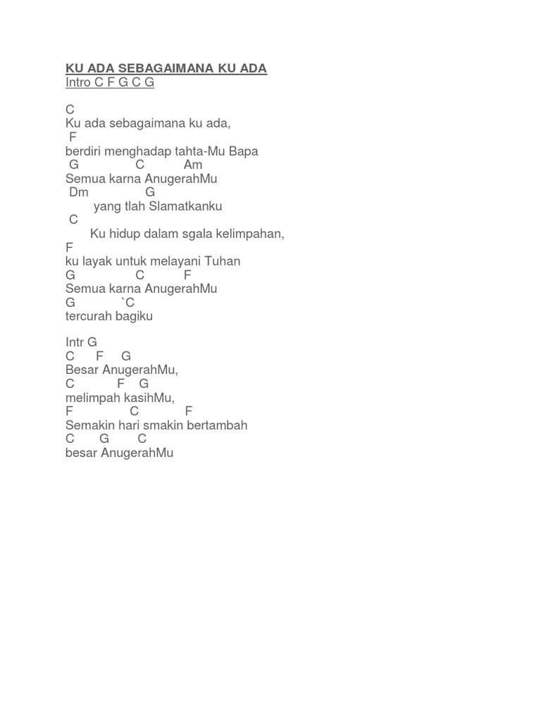 Lirik Lagu Ku Ada Sebagaimana Ku Ada : lirik, sebagaimana, Sebagaimana