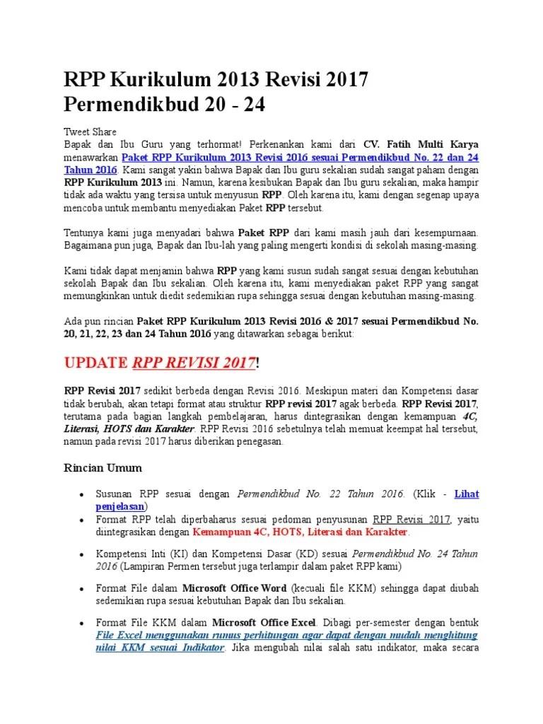 Rpp Kurikulum 2013 Revisi 2017 : kurikulum, revisi, Kurikulum, Revisi, Permendikbud