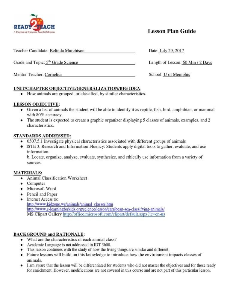 medium resolution of 2nd edtpa lesson plan - murchison belinda   Lesson Plan   Statistical  Classification