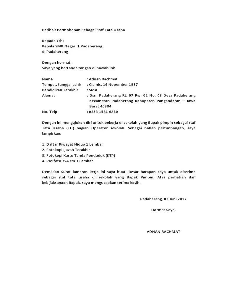 Contoh Surat Lamaran Kerja Tulis Tangan Sebagai Operator Produksi Berbagi Contoh Surat Cute766