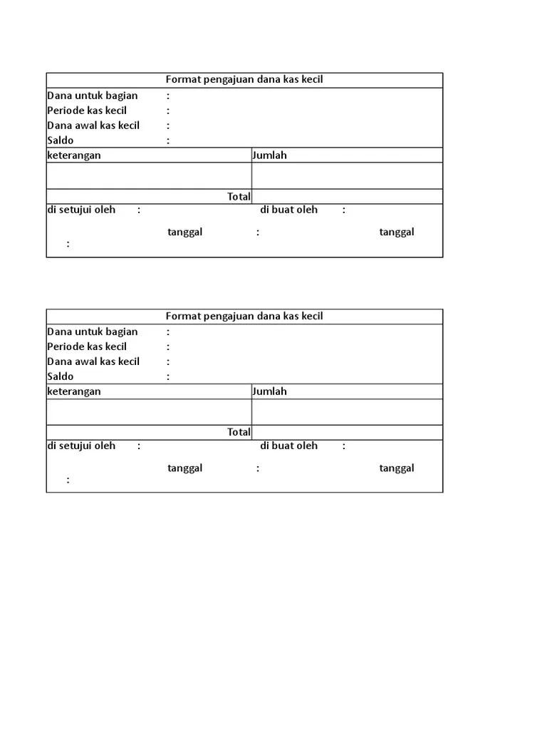 Formulir Pengajuan Dana Kas Kecil : formulir, pengajuan, kecil, Format, Pengajuan, Kecil