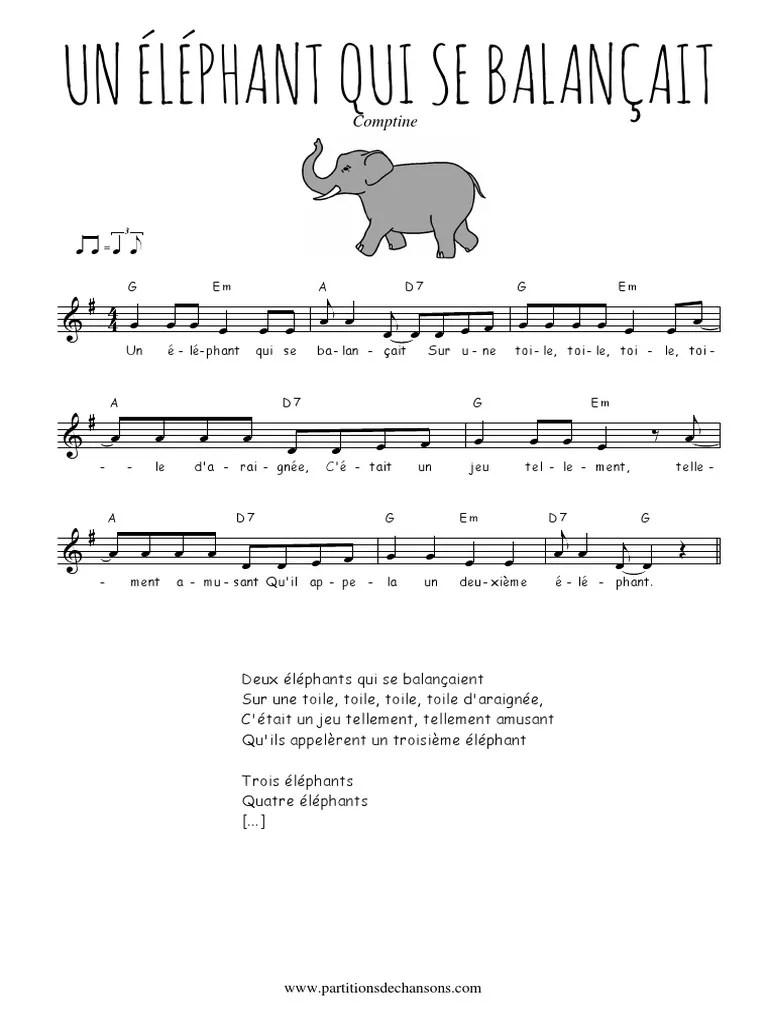 Un éléphant Qui Se Balancait : éléphant, balancait, Traditionnel, Éléphant, Balançait