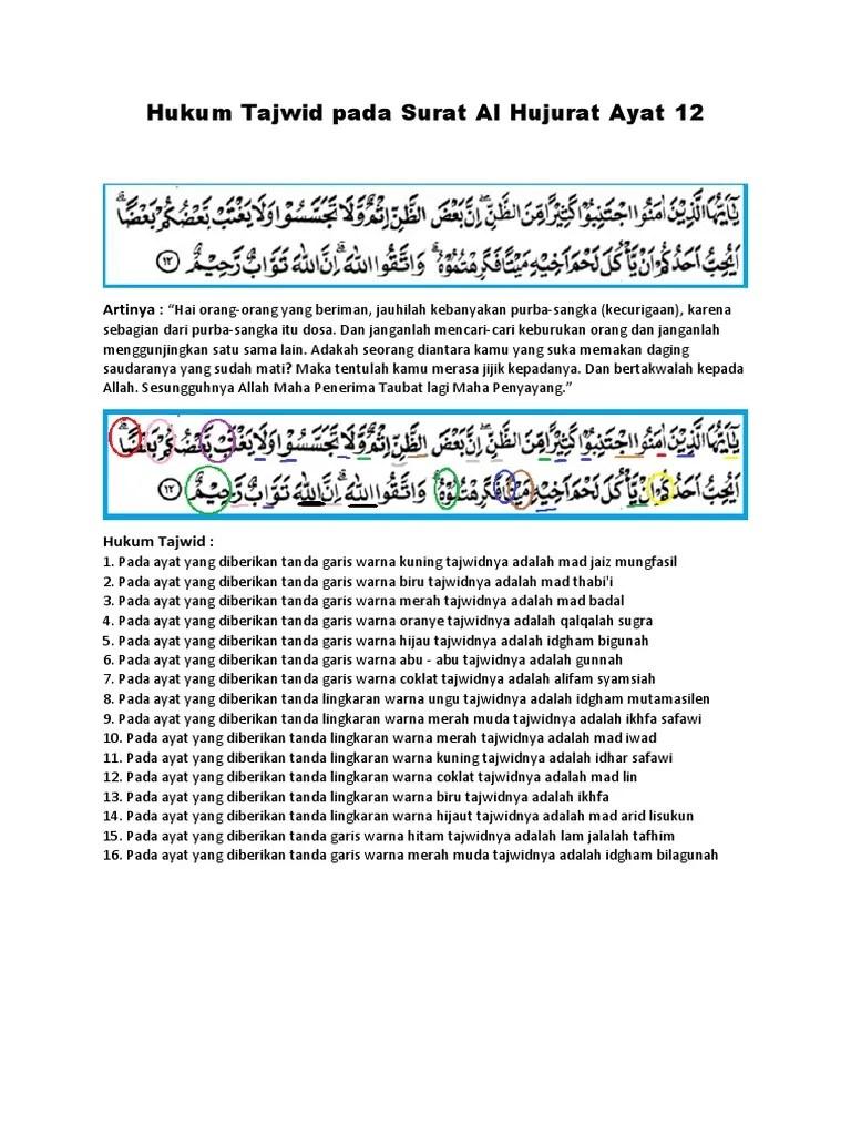 Surat Al Hujurat Ayat 12 Beserta Tajwidnya : surat, hujurat, beserta, tajwidnya, Hukum, Tajwid, Surat, Hujurat