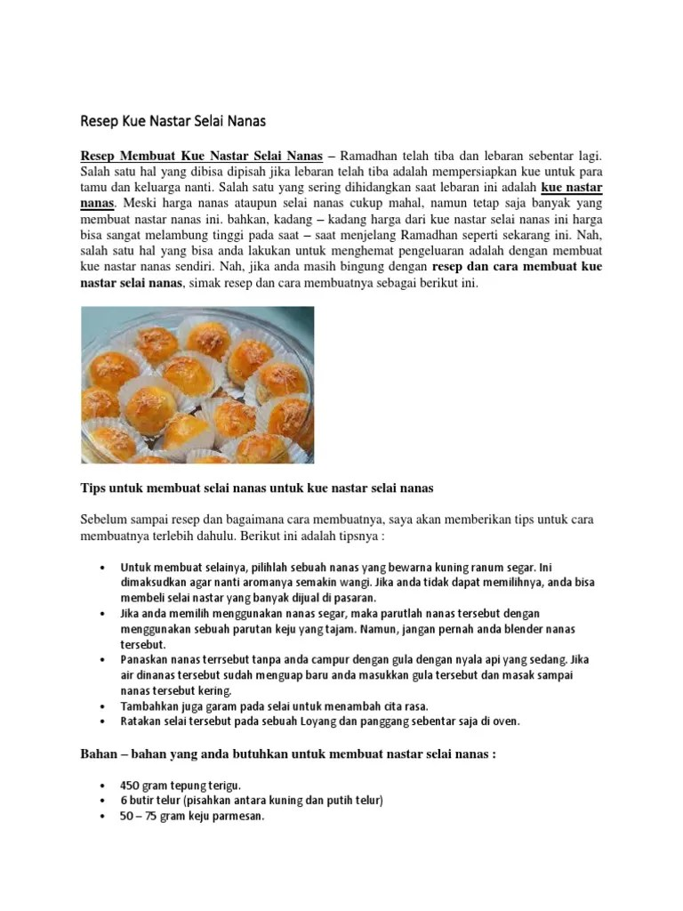Bahan Bahan Kue Nastar Dan Cara Buatnya : bahan, nastar, buatnya, Membuat, Selai, Nanas, Untuk, Nastar, Berbagai