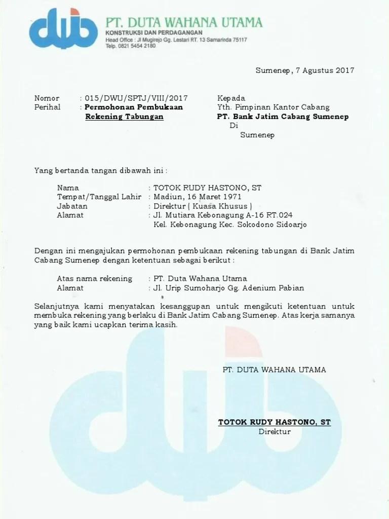 Contoh Surat Permohonan Buka Blokir Rekening Bank Bagi Cuitan Dokter