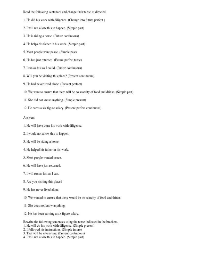 Tenses Do as Directed Sample   Grammatical Tense   Grammar [ 1024 x 768 Pixel ]