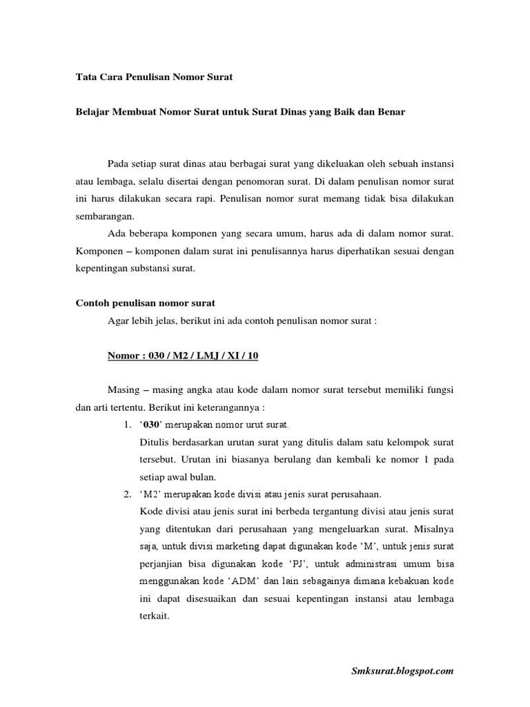Membuat Nomor Surat : membuat, nomor, surat, Penulisan, Nomor, Surat.pdf
