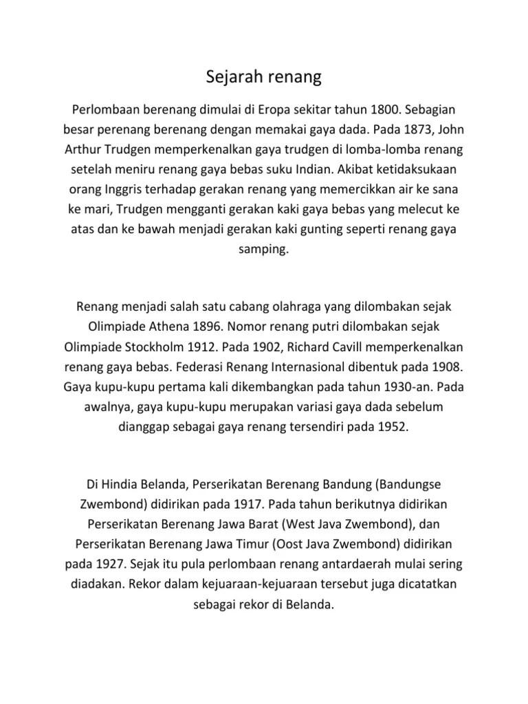Sejarah Berenang : sejarah, berenang, Sejarah, Renang.docx