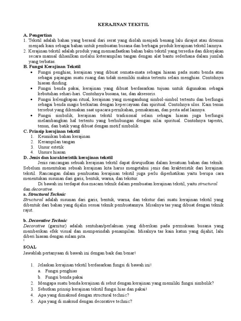 Fungsi Kerajinan Tekstil Tradisional : fungsi, kerajinan, tekstil, tradisional, KERAJINAN, TEKSTIL, Siswa.docx