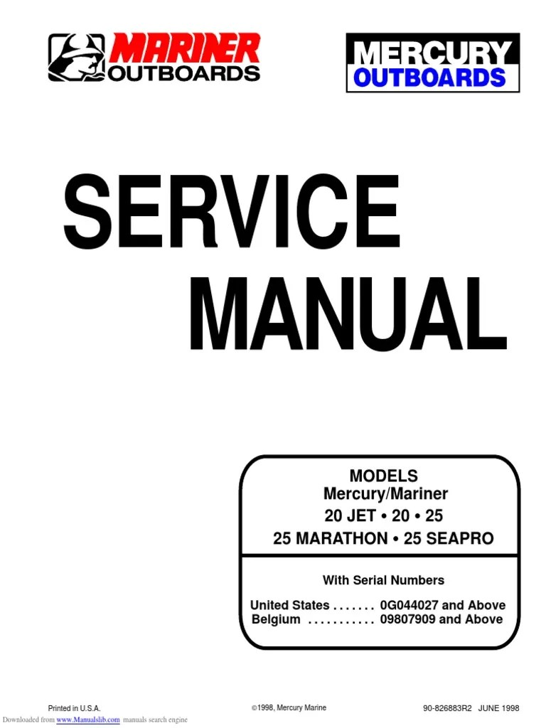medium resolution of mercury 20 25 marathon seapro service manual cylinder engine piston