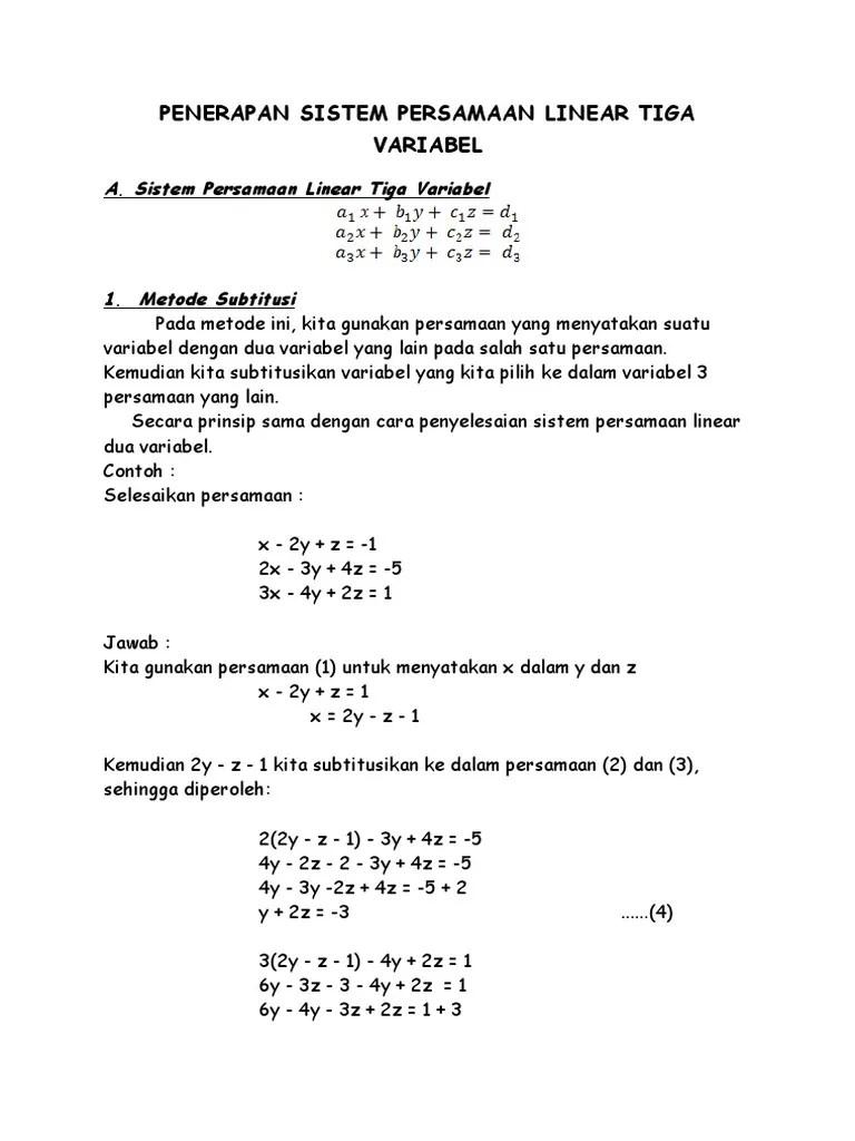 Persamaan Tiga Variabel : persamaan, variabel, Penerapan, Sistem, Persamaan, Linear, Variabel