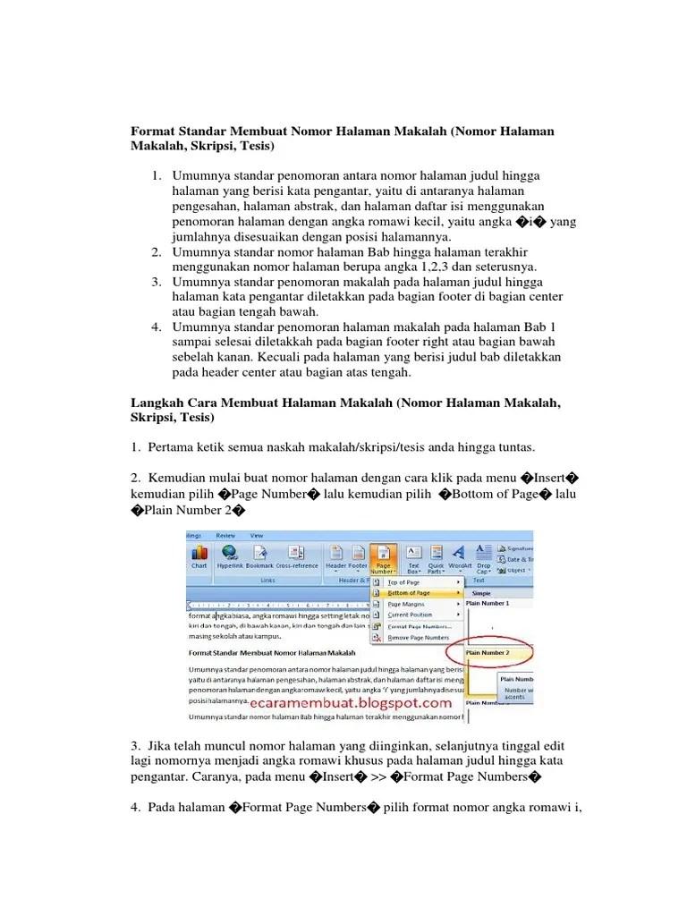 Penomoran Halaman Makalah : penomoran, halaman, makalah, Format, Standar, Membuat, Nomor, Halaman, Makalah