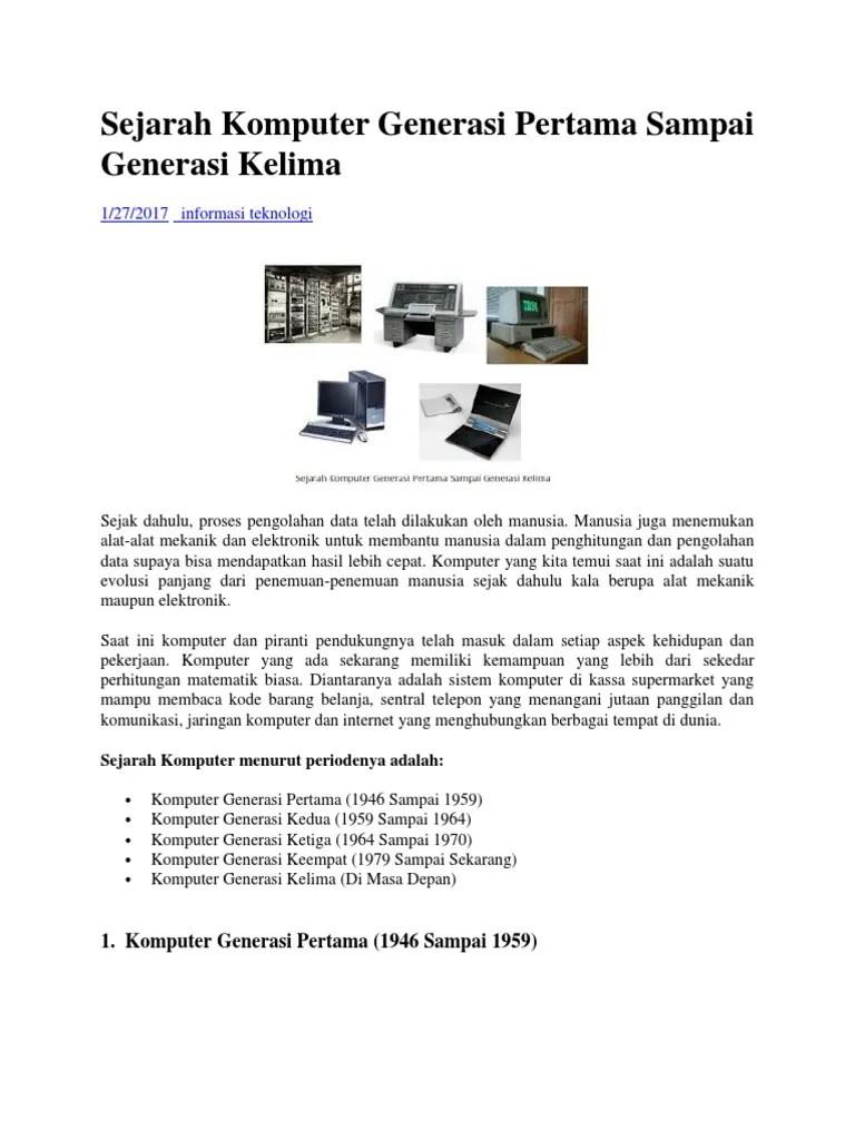 Contoh Komputer Generasi Pertama : contoh, komputer, generasi, pertama, Sejarah, Komputer, Generasi, Pertama, Sampai, Kelima