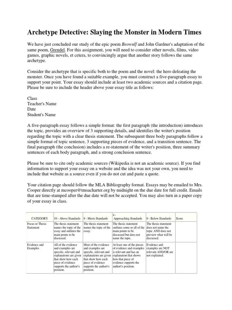 Name Essay Examples Archetype Detective Paper With Rubric Essays 138 Views