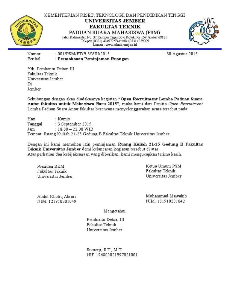 Surat Peminjaman Ruangan : surat, peminjaman, ruangan, Surat, Peminjaman, Ruangan
