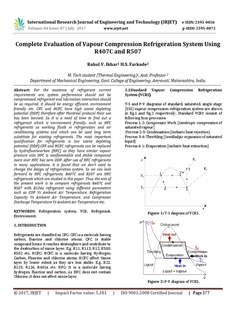 medium resolution of complete evaluation of vapour compression refrigeration system using r407c and r507 chlorofluorocarbon refrigeration