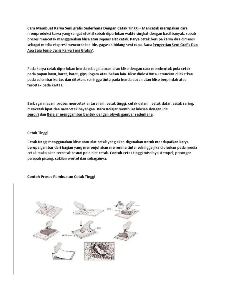 Alat Dan Bahan Cetak Tinggi : bahan, cetak, tinggi, Membuat, Karya, Grafis, Sederhana, Dengan, Cetak, Tinggi