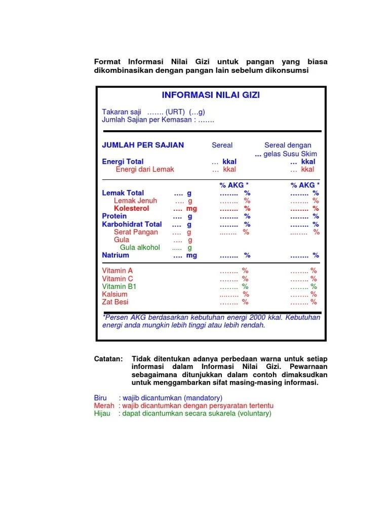 Dalam Tabel Informasi Nilai Gizi : dalam, tabel, informasi, nilai, FORMAT, LABEL, GIZI.pdf
