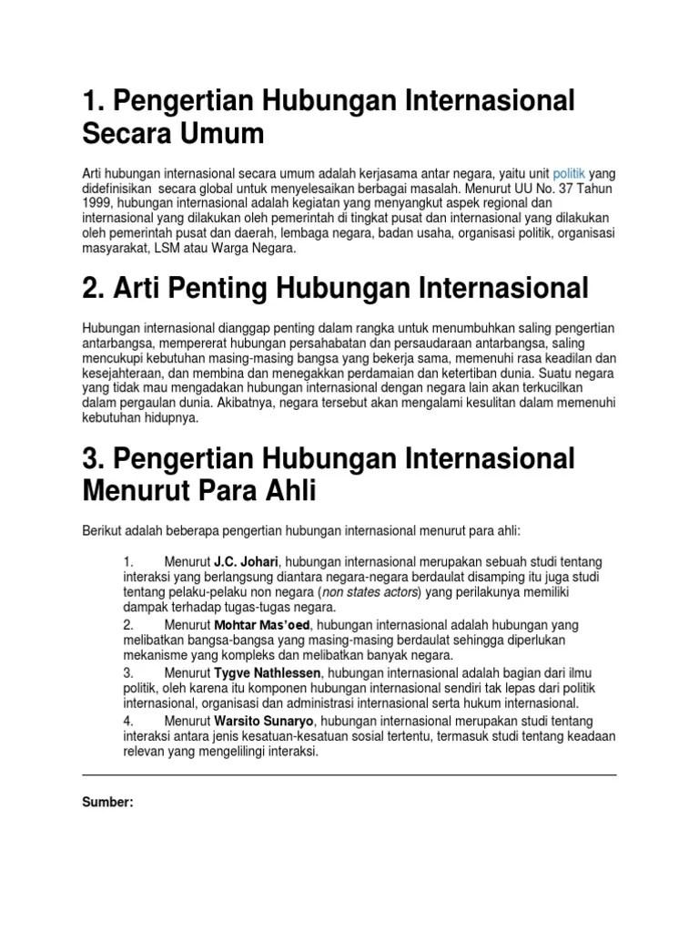 Definisi Hubungan Internasional Menurut Para Ahli : definisi, hubungan, internasional, menurut, Pengertian, Hubungan, Internasional