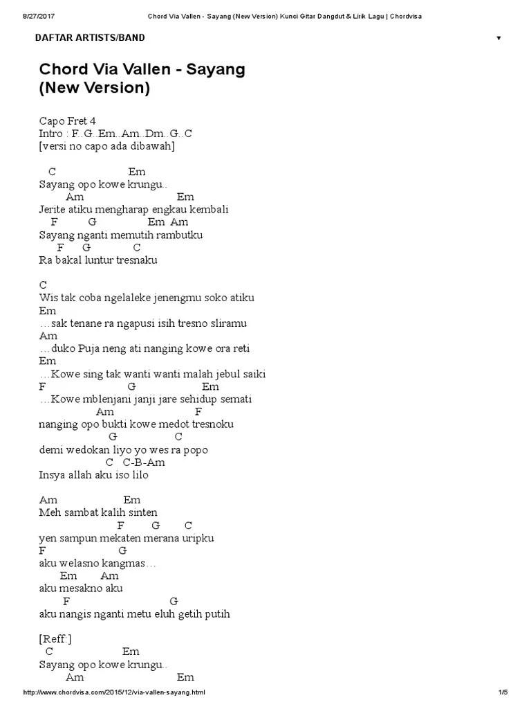 Kunci Gitar Via Vallen - Piker Keri Chord Dasar Mudah