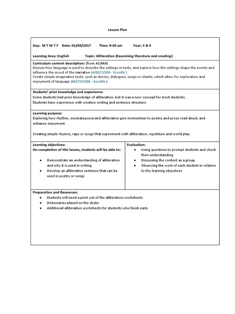 small resolution of bsanders alliteration lesson plan   Lesson Plan   Poetry