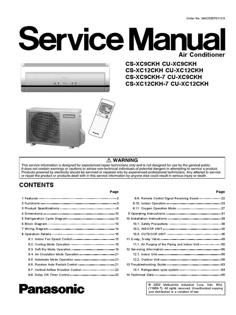 small resolution of panasonic cs xc9ckh cs xc12ckh series service manual repair guide air conditioning heat exchanger