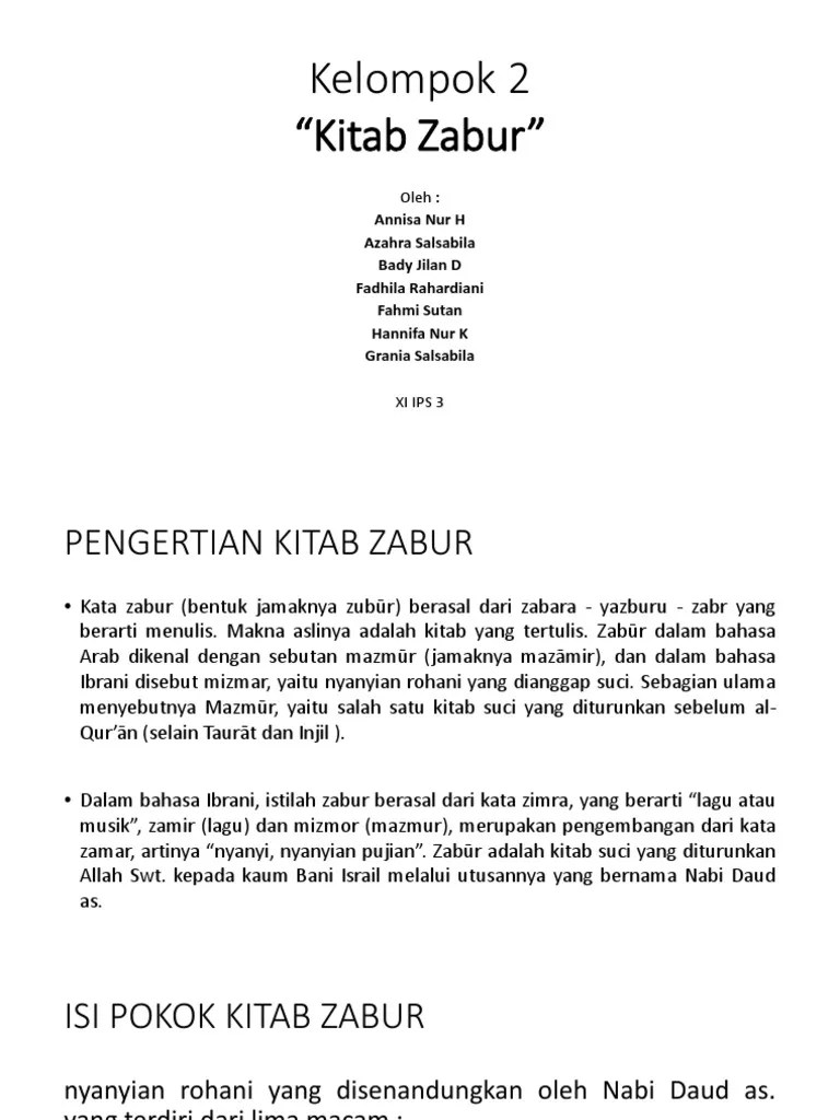 Arti Kitab Zabur : kitab, zabur, Tugas, Agama, Kitab, Zabur, Dhila
