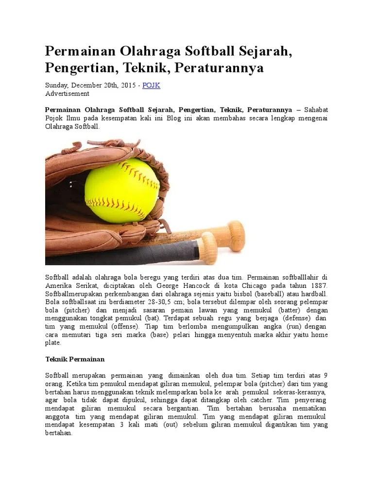 Pengertian Olahraga Softball : pengertian, olahraga, softball, Permainan, Olahraga, Softball, Sejarah