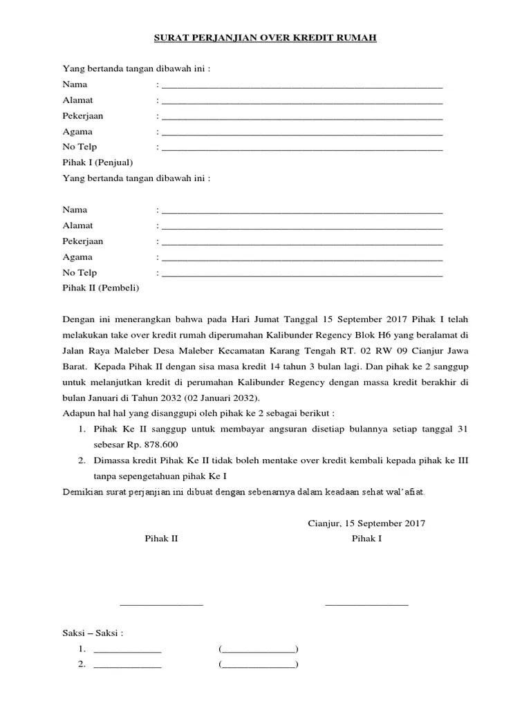 Surat Perjanjian Over Kredit Dibawah Tangan : surat, perjanjian, kredit, dibawah, tangan, Contoh, Surat, Pernyataan, Kredit, Rumah