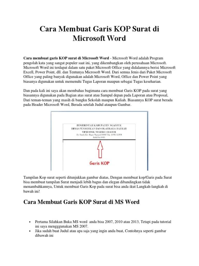 Cara Membuat Garis Untuk Kop Surat : membuat, garis, untuk, surat, Membuat, Garis, Bawah, Untuk, Surat, Contoh