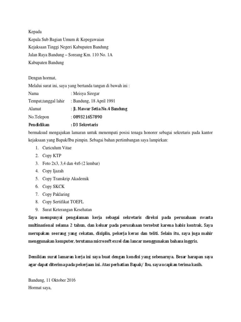 Contoh Surat Lamaran Kejaksaan Tulis Tangan : contoh, surat, lamaran, kejaksaan, tulis, tangan, Contoh, Surat, Lamaran, Kerja, Kejaksaan, Sebagai, Tenaga, Honorer