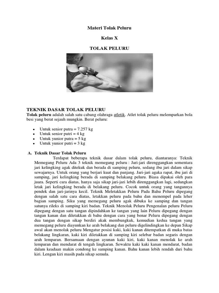 Teknik Tolak Peluru : teknik, tolak, peluru, Materi, Tolak, Peluru