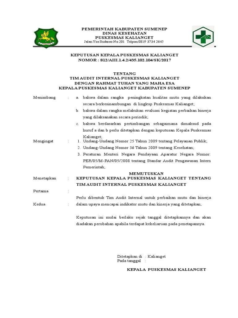 Sk Tim Audit Akreditasi Puskesmas I Melaya Cute766