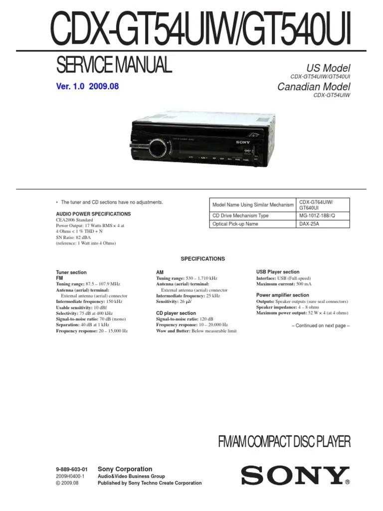 medium resolution of sony cdx gt54uiw wiring diagram