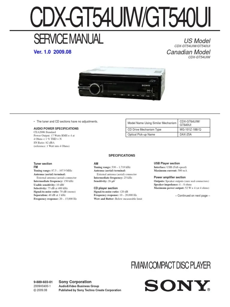 small resolution of sony cdx gt54uiw wiring diagram
